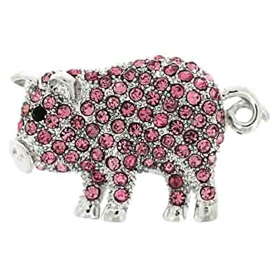 Brooches Store Fuchsia Pink Swarovski Crystal Pig with Curly Tail Brooch Riwn86