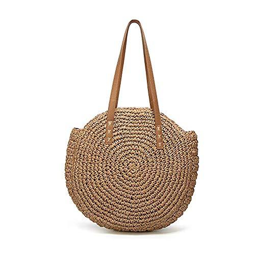 SHUIBIAN Stroh Crossbody Tasche Frauen Weben Umhängetasche Runde Sommer Strand Geldbörse und Handtaschen (Braun 3)