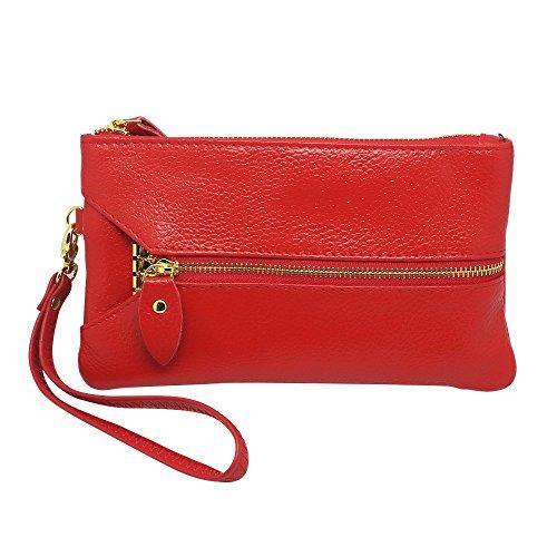 Genuine Coin Zip Organizer Hysagtek Purse Clutch Red Key Card Wallet Wristlet Holder Bag Leather Women's 0aRwqS5