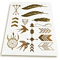 BeneU® 8 Sheet Packs Flash Temporary Bling Metallic Tattoos - Gold & Silver Jewelry Designs(Style A)