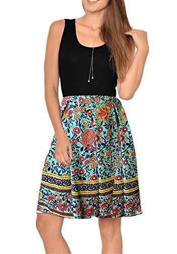 Poulax Women Casual Sleeveless Striped Print Swing Mini T Shirt Tank Dress with Pockets (M, 01 Light Blue)