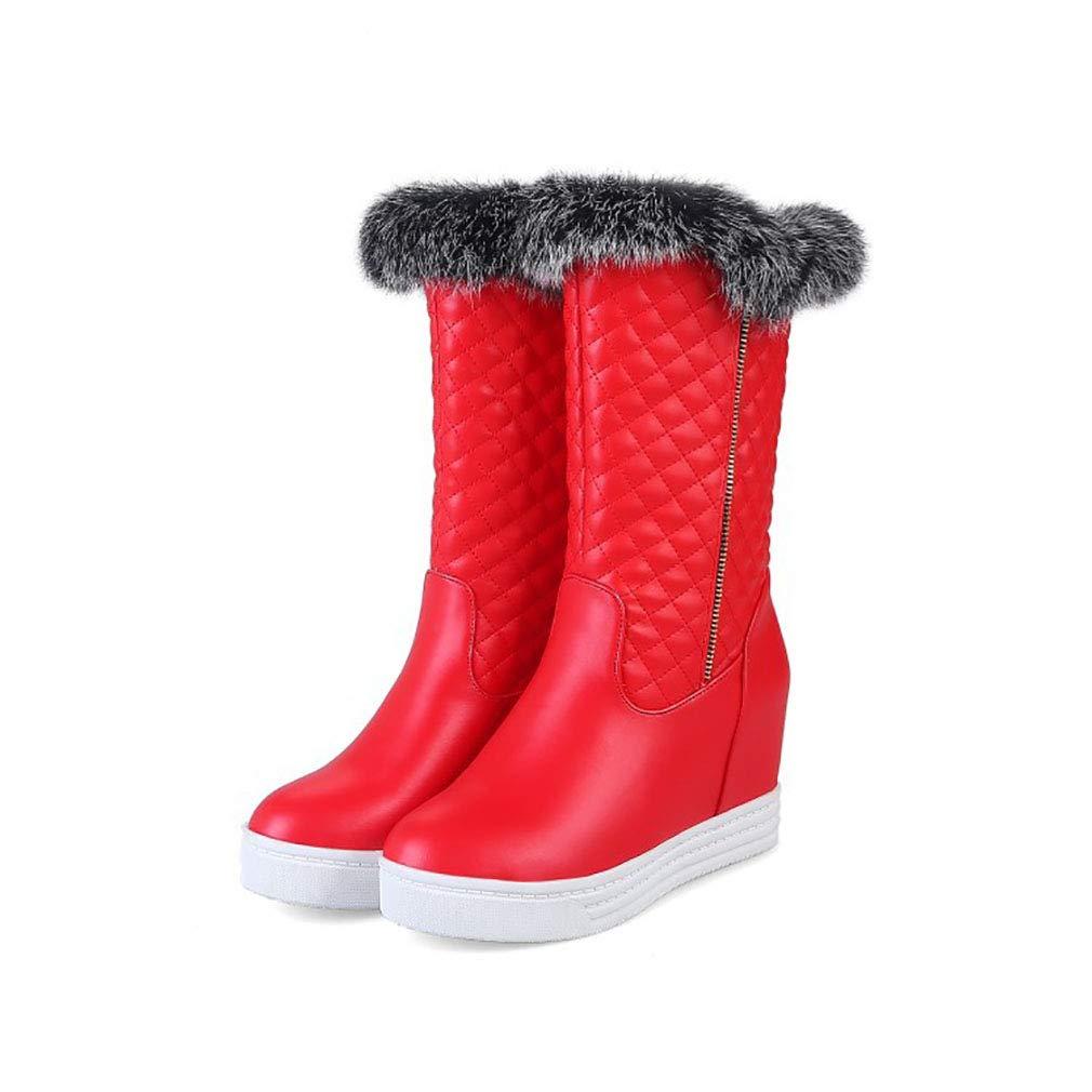 Hy Hy Hy Frauen Stiefel künstliche PU Winter Warm Winddicht Schnee Stiefel Stiefel Student Mittel-Kalb Stiefel Damen Winter Stiefel Erhöhen Casual Ski Schuhe (Farbe   Rot Größe   34) c3eeb5