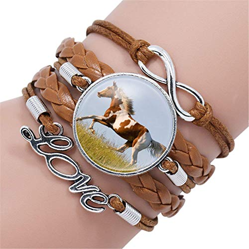 spyman 2019 Gifts Fashion Horse Love Leather Infinity Wrap Bracelet Bangle for Women Handmade Glass Cabochon Horse Jewelry Best Gift,12003315