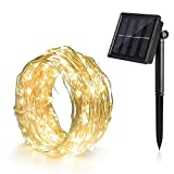 Solar Christmas Lights 39 ft. Bendable Waterproof 8 Modes - Ankway Copper Wire High Efficiency 100 led Bright Outdoor Solar String Lights for Fence - Patio - Garden - Windows and Porch (Warm White)