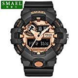 SMAEL AL35 Men's Sports Digtal Watch Dual Quartz Movement Military Time Water Resistant with Backlight (Rose Gold)