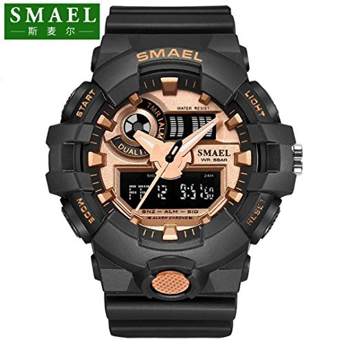 SMAEL AL35 Men's Sports Digtal Watch Dual Quartz Movement Military Time Water Resistant with Backlight (Rose Gold) by SMAEL