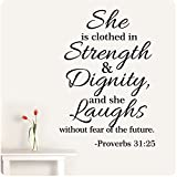 32'' Proverbs 31:25 She Is Clothed in Strength and Dignity and She Laughs Without Fear of the Future Wall Decal Sticker Scripture Bible Verse Quote Art Mural Christian God Nursery Girl Woman