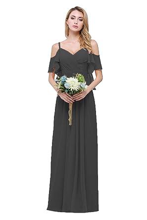 11220c09d698 CLOTHKNOW Chiffon Bridesmaid Dresses Black with Shoulder Straps Ruffles  Pleats