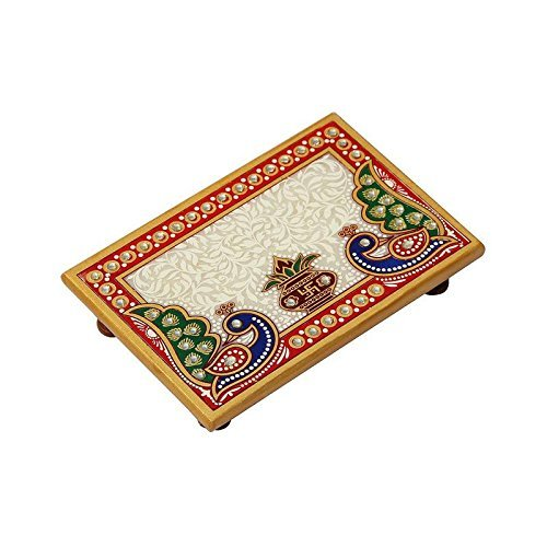 HANDICRAFTS PARADISE Marble Puja Chowki Rectangle Shape with Peacock Design and Kalash