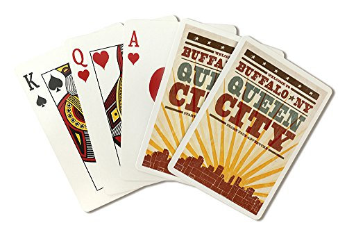 - Buffalo, New York - Skyline and Sunburst Screenprint Style (Playing Card Deck - 52 Card Poker Size with Jokers)
