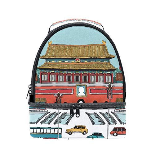 almuerzo con para de tiananmen de Alinlo la piscina con diseño ajustable escuela chino aislante pincnic Bolsa de correa para Xn1qxEP