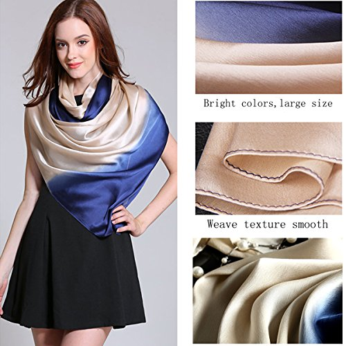 K-ELeven Silk Scarf Gradient Colors Scarves Long Lightweight Sunscreen Shawls for Women SK073 (G)