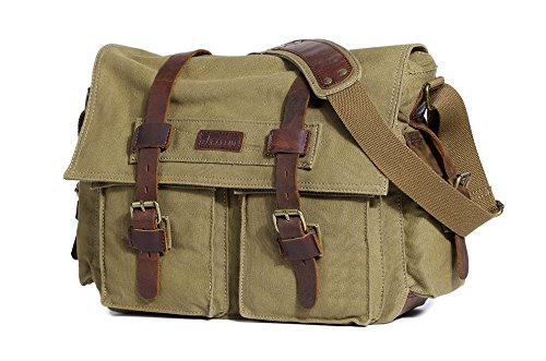 Paraffin Vintage Canvas Messenger Bag Military Laptop Satchel fits 15