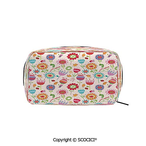 Rectangle Printed Beauty Cosmetic Bag Pouch Cartoon Drawing Style Ladybug Strawberry Bird Caterpillar Colored Characters Decorative Women fashion Toiletry Travel Bag (Sassy Caterpillar)