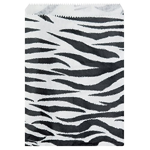 "888 Display USA - 200 pcs Zebra Print Paper Gift Bags Shopping Sales Tote Bags (4"" x 6"")"