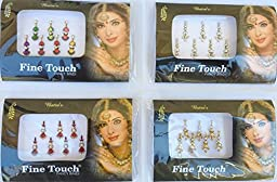 Lightahead Good Quality 4 PACK SILVER,GOLD ,MAROON, MULTI COLOR LONG SIZE BOLLYWOOD HEAD BINDI TATTOO INDIA ART RHINESTONE STICK ON REUSEABLE