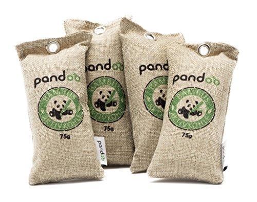 pandoo 4 x 75g natürlicher Bambus Lufterfrischer mit Aktivkohle - Luftreiniger, Luftentfeuchter, Lufttrockner, Raumluftreiniger & Raumerfrischer - absorbiert Gerüche & filtert Schadstoffe und Allergene - Für Auto, Schuhe, Küche, WC, Bad, usw. - 2 Jahre verwendbar, frei von Chemie und Schadstoffen & 100% biologisch abbaubar