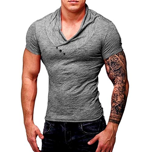 POQOQ T Shirt Men Perfect Slim Fit Short Sleeve Soft Fitted Polo Shirt Mens Baseball Button Down Jersey Hipster Hip Hop T Shirts XS Gray