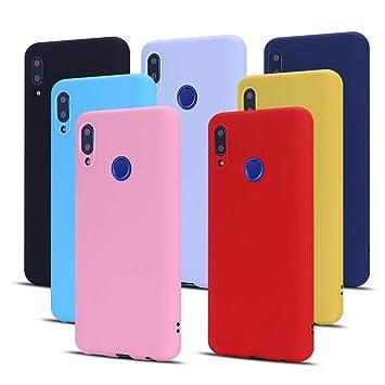 Meeter 7 x Funda para Huawei P20 Lite, Carcasa Suave Mate en Silicona TPU, Soft Silicone Case Cover [ Negro + Rojo + Azul Oscuro + Rosa + Lavanda + ...