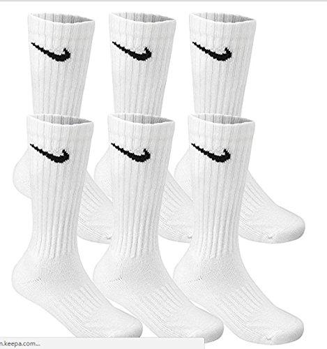 NIKE Cotton Crew Socks -6 PAIR ADULT LARGE Unisex 8-12 (White/Black Swoosh) (Nike Compression Basketball Socks)