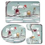 3 Piece Bath Mat Rug Set,Magical,Bathroom Non-Slip Floor Mat,Colored-Mirrors-over-Tree-Branch-Clouds-Dream-Room-of-Sky-Surreal-Unusual-Graphic-Work,Pedestal Rug + Lid Toilet Cover + Bath Mat,Multi