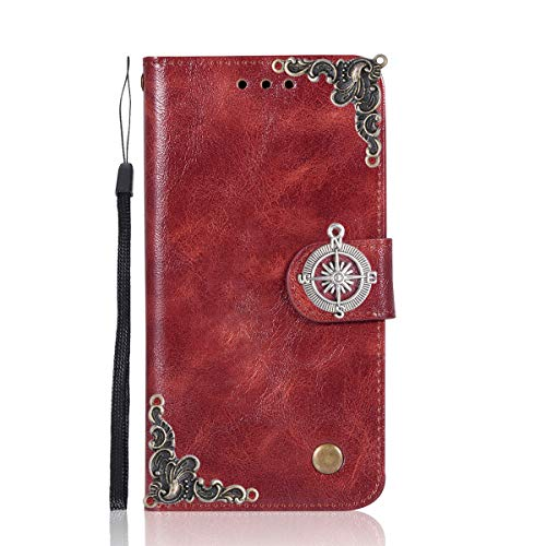 BlackBerry DTEK50 Case,Gift_Source [Compass series][Wrist Strap] Vintage Wallet Phone Case Flip PU Leather Purse Folio Stand Cover with Credit Card Slots for BlackBerry DTEK50/Alcatel Idol 4[Wine Red]