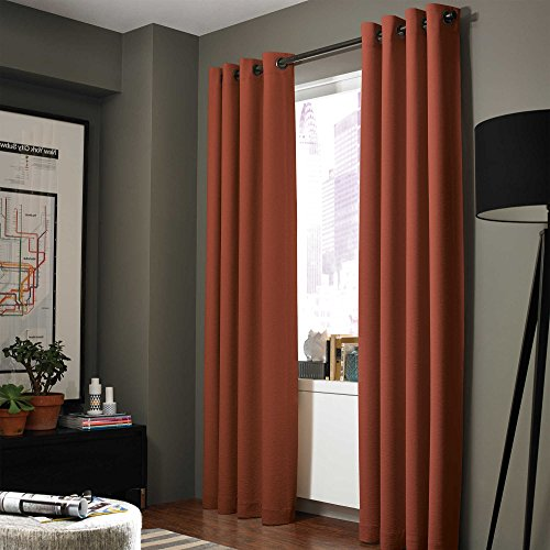 GorgeousHomeLinen (A72) 1 Solid Window Curtain Grommet Top Foam Lined Backing Insulated Thermal Blackout Drape Panel (108