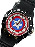 New Fashion Kid WG26 Marvel Super Hero Captain America Boy Man Metal Black Silicone Watch Wrist