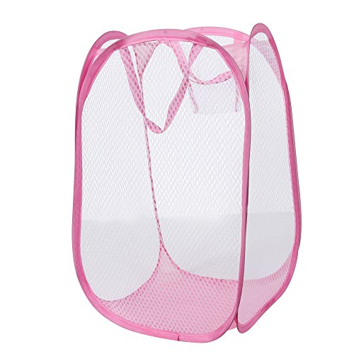 JPJ(TM) ❤️Storage Bag ❤️1pcs Hot Fashion Foldable Pop Up Washing Laundry Basket Bag Hamper Mesh Storage Bag (Pink)