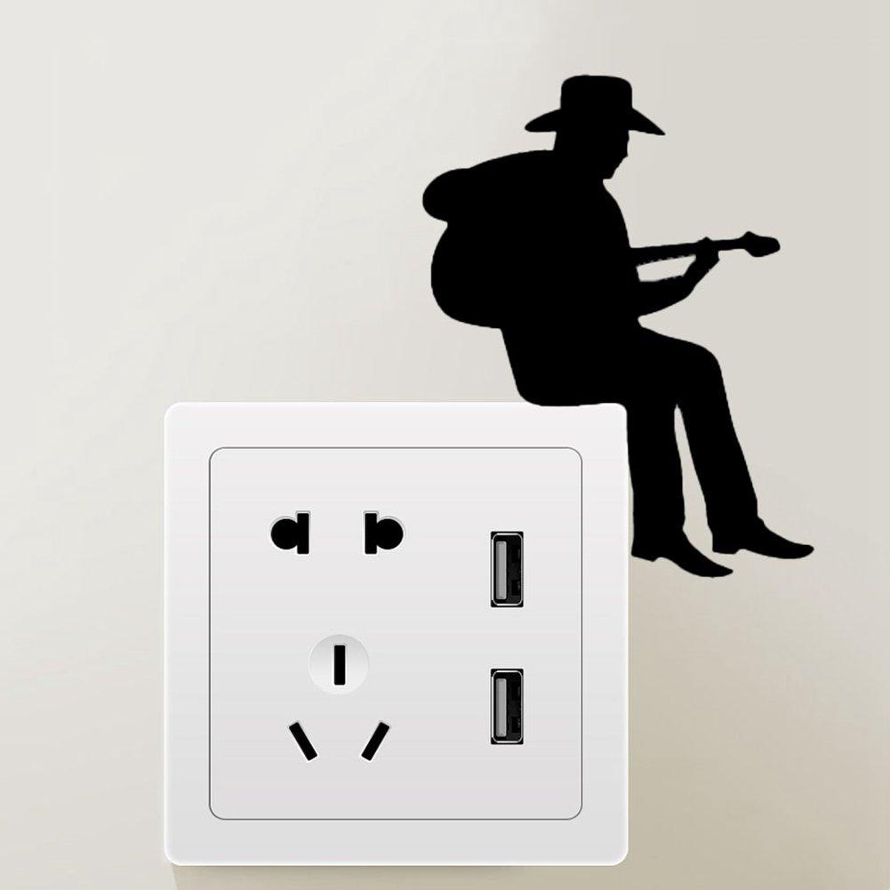 ALTcompluser Licht Schalter//Steckdose Aufkleber Man spielt Posaune Wandtattoo//Wandaufkleber//Wandsticker Dekoration Wall Stickers Moderner Stil