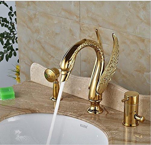 GOWE Luxury Brass Golen Bathtub Sink Faucet Deck Mount Swan Tub Mixer Taps One Handle 3 hole with Hand Shower 0