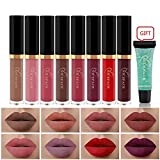 Matte Nude Lipstick Set, NICEFACE 8 Colors Waterproof Long Lasting Lip Gloss Non-Stick Cup Liquid Lipstick Set With Makeup Remover Gel