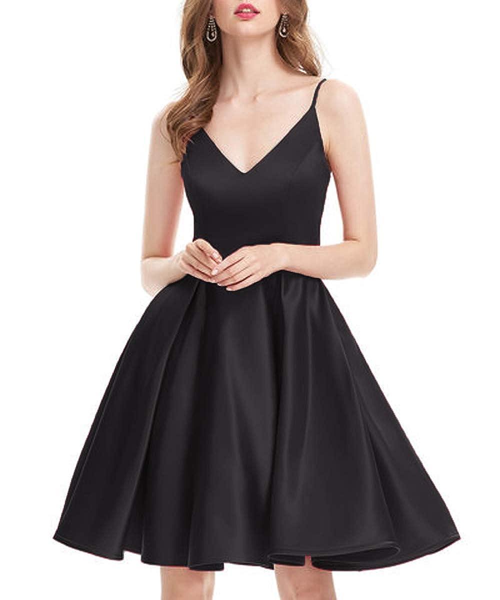 Black Yisha Bello Women's Short Satin Spaghetti Straps Bridesmaid Dress V Neck Homecoming Cocktail Gowns