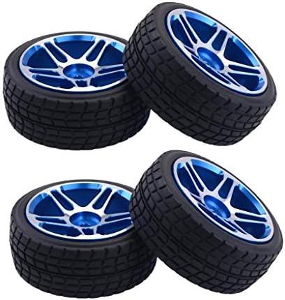 4本 ゴム製 アルミニウム合金 ホイールタイヤ 1/10 RCカーに適用 DIY 交換用 青