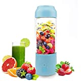 Portable USB Juicer Cup -Suitable for Personal Travel/Household Fruit and Vegetable Smoothie Mixer -USB Rechargeable Small Handheld Blender 480ML-(Blue)