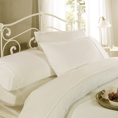 Emma Barclay Ritz Cotton 300 Thread Count Sateen Stripe Duvet Cover Set, Ecru, Double by Emma Barclay