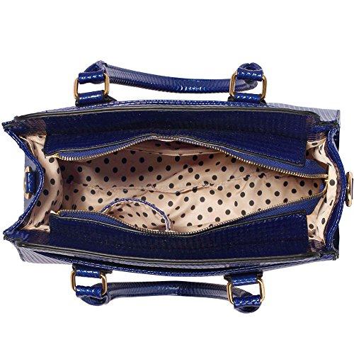 Traje de neopreno para mujer New para el hombro bolsa grande para mujer bolsos funda rígida con diseño de estampado de tamaño grande del famoso británico de piel sintética bolsa aislante para C - Navy