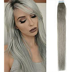 New Arrival Straight Tape in Remy Human Hair Extensions 100% Real Human Hair Gray Hair Extensions (20 inch, #Silver Gray)