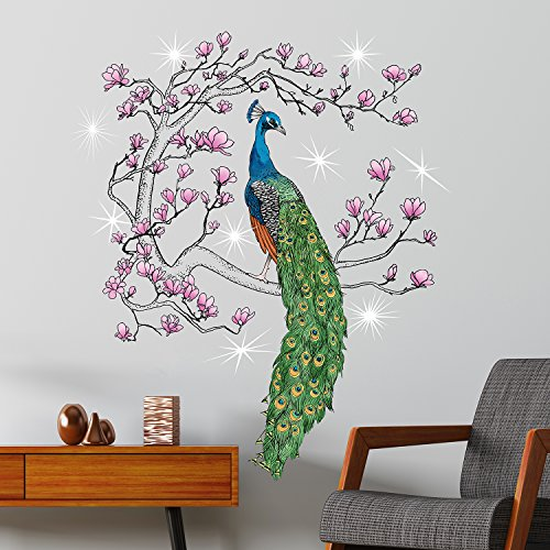 Captivating Walplus Wall Stickers Swarovski Crystals U0026 King Peacock Murals Decals Art  Home Decoration Living Room Nursery Restaurant Hotel Cafe Office Décor, ...