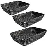 Colorbasket 31414-101 Hand Woven Waterproof Large Rectangular Basket, Black, Set of 3