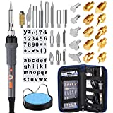 PICTEK Soldering Iron Kit, 35Pcs Wood Burning Kit, Leather Pyrography Pen Kit with 15x Wood Carving & Embossing Tips, 13x Wood Burning & Soldering Tips, 2X Stencils, Sponge Stand, Knife Chuck, Blade