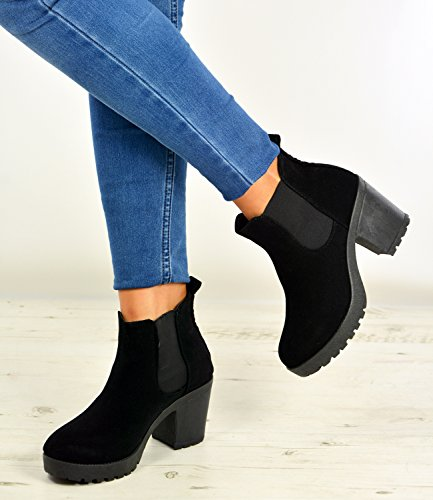 Womens Suede New Ankle Black Boots UK Chunky Size Brand Ladies 3 8 Girls Fashion Slip Cucu On Shoes Heels Winter XHtxgg