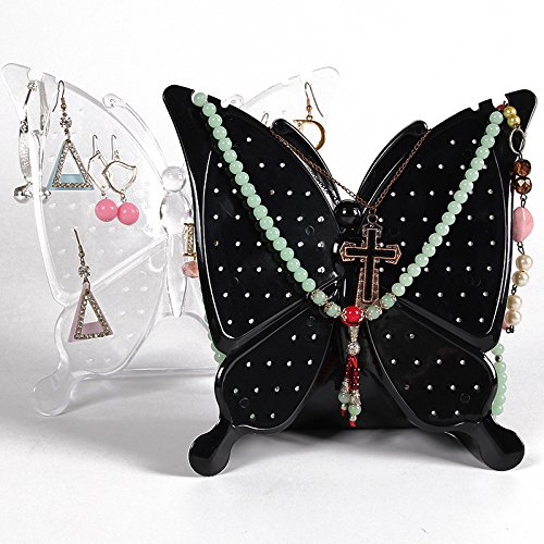 TOMUM Butterfly Acrylic Jewelry Organizer Earrings Screen Hanger Display Jewelry Holder Stand 48 Paris for Earrings (Black)