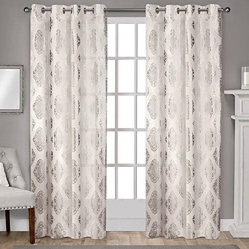 Exclusive Home Curtains Augustus Metallic Grommet Top Panel Pair, 54×108, Off-white, 2 Piece