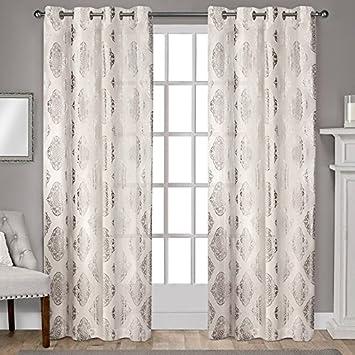 Exclusive Home Curtains Augustus Grommet Top Window Curtain Panel Pair,  108u0026quot; Length, Off