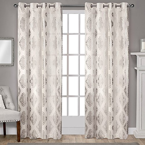 "Exclusive Home Augustus Metallic Medallion Grommet Top Window Curtain Panels 54"" X 84"", Off-White, Sold as Set of 2 / Pair"