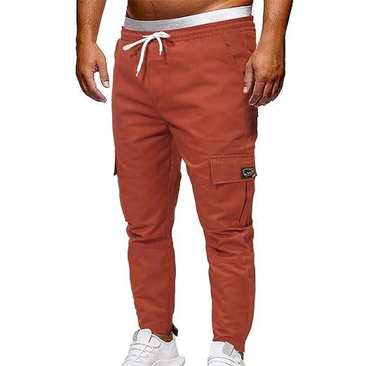 ... Pantalones Deportivos Largos Hombre, Leggings Deportivos de Color sólido Pantalones Sueltos Casuales con cordón: Amazon.es: Ropa y accesorios