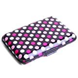 HDE Aluminum Travel Wallet Credit Card Case with RFID Blocking Protection (Pink & White Polka Dot)