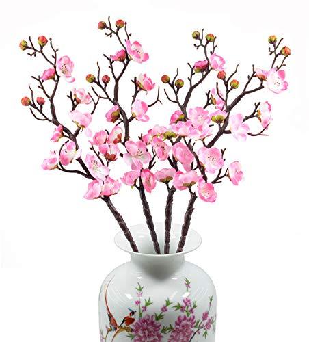 Blossoms Garden Pink Bouquet - EDINSY 4Pack Plum Blossom Babys Breath Fabric Cloth Artificial Flowers Fake Silk Plants Decor Wedding Party Decoration Bouquets DIY Home Garden (Pink)