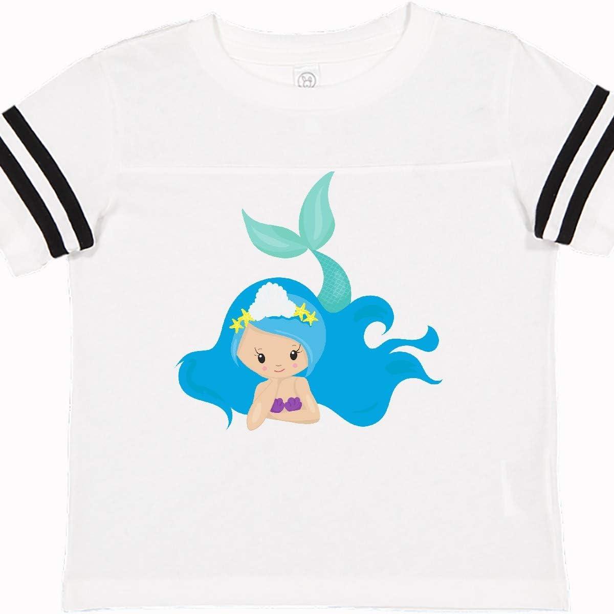Green Tail Toddler T-Shirt Long Blue Hair inktastic Cute Mermaid